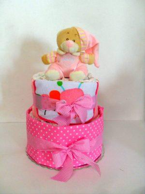 diapercake 2όροφο για κορίτσι